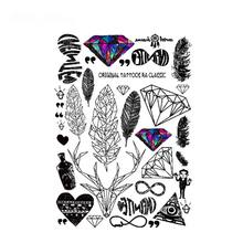 Feather Designs Temporary Tattoos Unisex Women Leaf Diamond Deer Feather Heart Fake Flash Tattoo Body Art