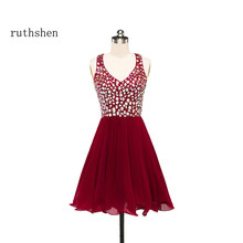 ruthshen Sexy Short Prom Dresses Rhinestones Beaded Ruffles Burgundy Formal Party Dress 2017 New Vestido De Festa Cheap