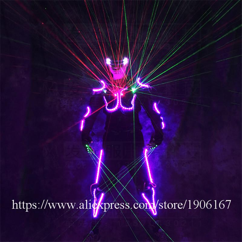 Ballroom dance led costumes luminous robot suit men led glasses green laser cloth dancer dj stage show wears laser gloves05