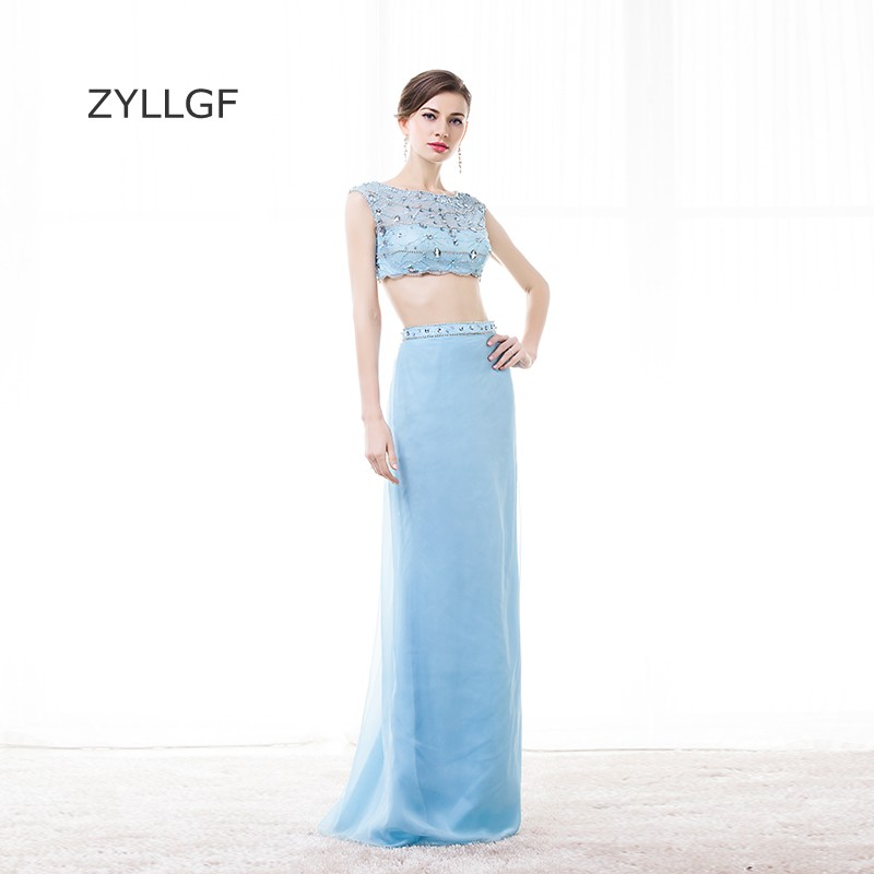 ZYLLGF Sexy Two Piece Prom Dresses Boat Neck Crystal Beaded Turkey Evening Gown Long Special Occasion Dress With Bow Q122