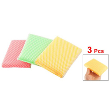 PHFU Amico Kitchen Dish Bowl Green Pink Scouring Sponge Cleaning Pads 3 Pcs