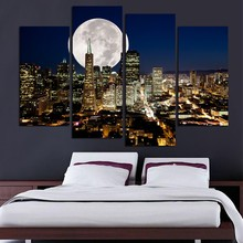 Fashion HD Great Canvas painting 4 Panels Home Decor New York city night view Artwork Prints