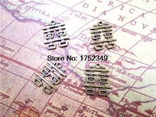 12pcs--Antique Bronze Chinese Character Double Happiness Wedding Decoration Charms pendant 21x24mm(China)