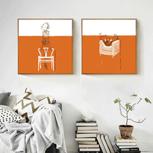 HAOCHU Limited edition Prints Orange And White Sleeping Man on Sofa Canvas Painting Thinker Pictures Art Wall Poster Home Decor(China)