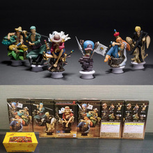PVC New World Anime ONE PIECE Chess PIECE Collection Figure Luffy Nami Zoro Usopp Sanji Model Toy Unique Gifts full set