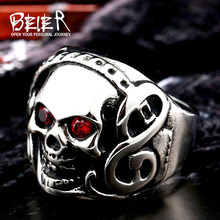 Beier 316L Stainless Steel high quality Rock Headsets Music Skull Ring WIth Red CZ Zircon LLBR8-074R(China)