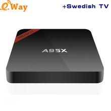 Hot A95X Amlogic S905X Quad Core 4K Android 6.0 TV Box Smart TV Portugal Russian Sweden UK Arabic IPTV Europe Media Player Box(China)
