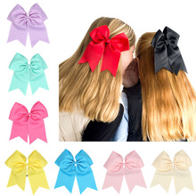 8 inch Fashion Boutique Lovely Big Grosgrain Ribbon Cheer Bow Elastic Hair Bands For Cheerleading Children Girls Rubber Bands(China)