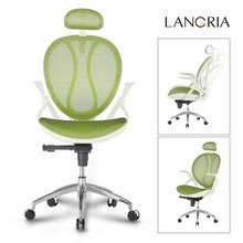 LANGRIA Office Chair High-Back Swivel Mesh Executive Office Chair with Adjustable Headrest and Armrests(China)