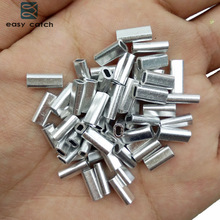 Easy Catch 100pcs White Oval Aluminum Fishing Tube Fishing Wire Pipe Crimp Sleeves Connector Fishing Line Accessories