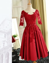 Cheap Red Lace Knee Length Bridesmaid Dresses 2017 Fashion Wedding Party Dresses robe demoiselle d'honneur Country Guest Gowns