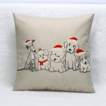 45x45cm Xmas Decorative Cushion  Dog in Christmas Hat Pattern Cotton Linen Cushion Cases For Car Seat Sofa Almofada Pillow