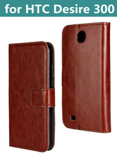 New Wallet Crazy Horse Leather Case for HTC Desire 300 Case Leather with Stand leather skin Flip case for Desire 300 pouch