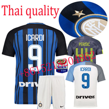 2017 HOT SALES 2018 BEST QUALITY ADULT KIT INTER MILANES SOCCER JERSEY 17 18 HOME RED AWAY GRAY MEN SHIRT FREE SHIPPING(China)