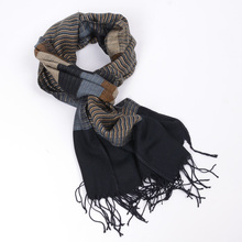 JeouLy 2017 double fine striped Scarves men winter new brand Fashion Plaid Scarf for Men cozy warm long Tassel scarf cotton blue(China)