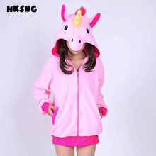 HKSNG High Quality Autumn Winter Women Men Blue Pink Purple Unicorn Hoodies Top Kiguruma Cosplay Coat Jacket Sweatshirts