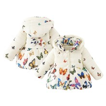 Infants Baby Girl Winter Warm Coat Kid Toddler Cotton Butterfly Jacket Outwear 0-24M