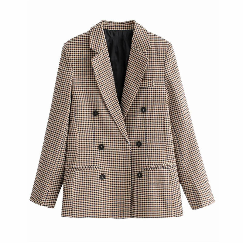 Fashion Autumn Women Plaid Blazers and Jackets Work Office Lady Suit Slim Double Breasted Business Female Blazer Coat Talever 4