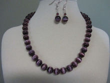 "shipping>>>>> 10MM ""Purple Passion"" Cat Eye Necklace and Earrings 18"" AAA set"