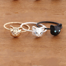 TOFOL Simple Cute Kitty Cat Ring For Women Girl Mini Pussy Head Finger Rings Jewery Gift