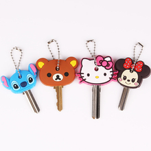 Anime Silicone Key Cap Cat Minion Key Chain Women Bag Charm Key Holder Mickey Key Ring Owl Keychain Hello Kitty Stitch Key Cover(China)