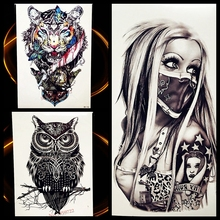 Sexy Punk Masked Women Lady Temporary Tattoo Sticker 21*15cm Waterproof Fake Tattoo For Men Women Body Art Tatoo Arm Leg Decals(China)