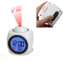 LCD Projection Clock Electronic Desk Table Clock No Radio Nixie Projector Watch Talking Digital alarm Clock With Time Projection(China)