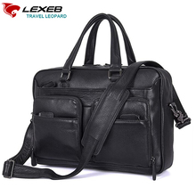 "LEXEB Leather Tote Briefcases For Men, Attache 15.6"" Laptop Bag, Man Office Bags,College Back To School Messenger Bags Black(China)"