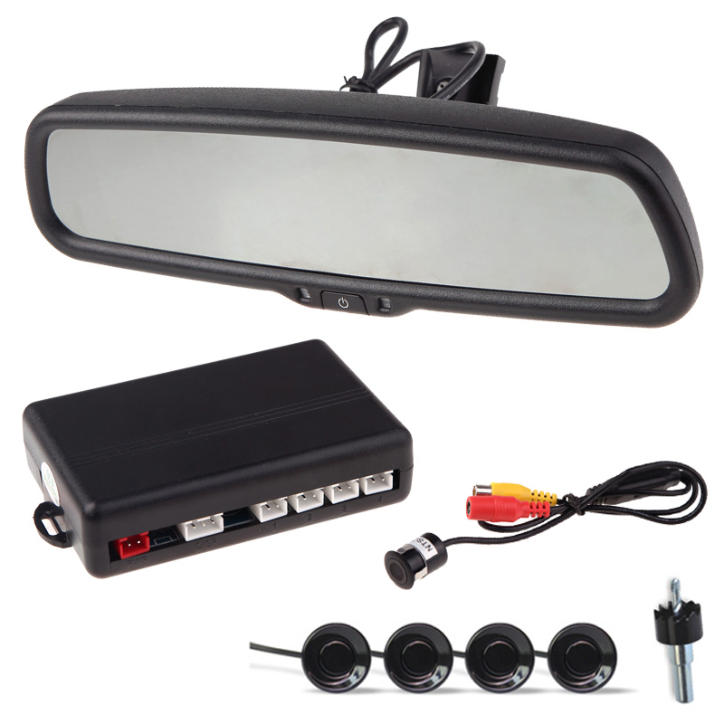 "12V 4 Parking Sensors 4.3"" LCD Display Camera Video Car Rearview Mirror Reverse Radar System(China)"