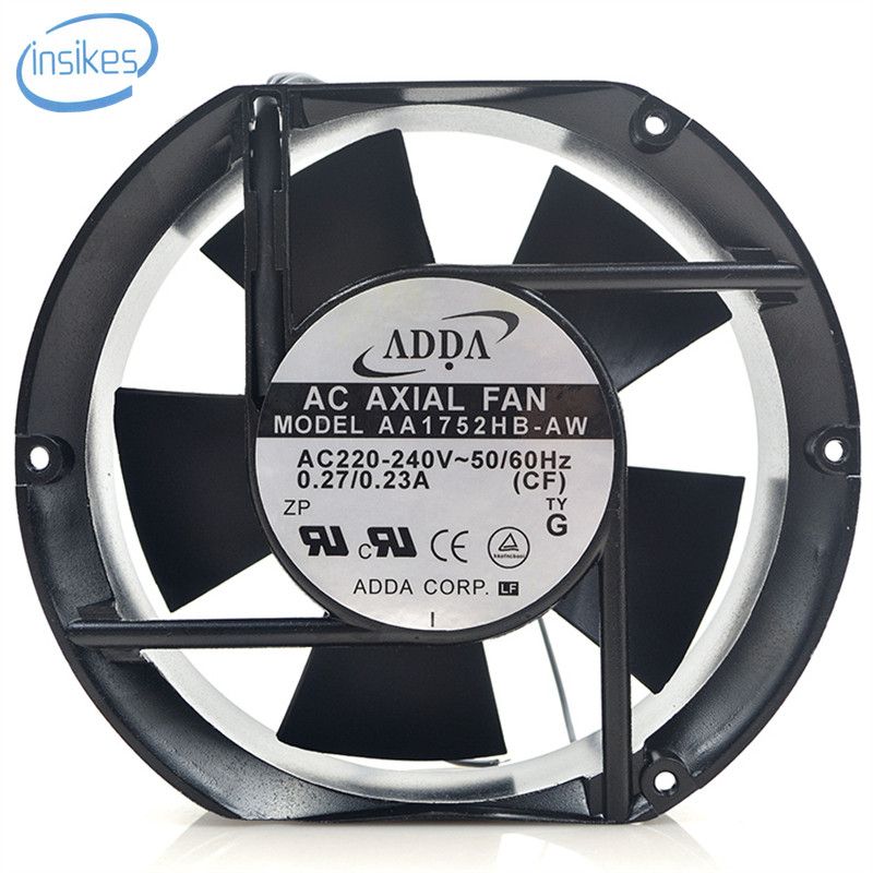 AA1752HB-AW Double Ball Bearing Cooling Fan AC 230V 0.27A 19W 3000RPM 17250 17cm 172*150*50mm 50/60HZ 2 Wires <br>