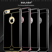 Fashon Glossy Fitted Case For iPhone 6 iPhone6s Plus Back skin Protective Cover Luxuxy Black Color Cases Soft Shell Eletraplate