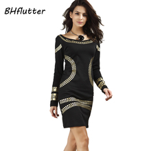 Buy BHflutter Pencil Dress Women Long Sleeve Autumn Winter Dress 2017 New Fashion Gilding Slim Womens Retro Vintage Dresses Vestidos for $11.99 in AliExpress store