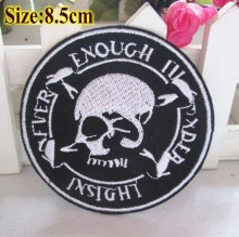 Free Shipping-20pcs DIY Embroidered patches with glue,iron-on design Round Black skull,sewing handmade Sticker logo cloth badge