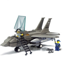 Sluban Military Air Force F15 Fighter Jet Army Plane DIY Model Building Blocks Bricks Toy Gift Compatible with Legoe Friends(China)