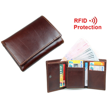 New Style RFID BLOCKING Men Wallet Vintage Genuine Cow Leather Trifold Purse Card Holder RFID Protection Wallets for Men