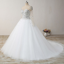 2017 Romantic vestido de noiva Arabic Style said Mhamad Long Sleeve Crystal Princess  Ball Gown Wedding Dresses with Pearl