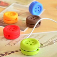 Button Type Bobbin Winder, Candy Color Style Cable Cord Wire Organizer Smart Wrap For Headphone Earphone, Random Color