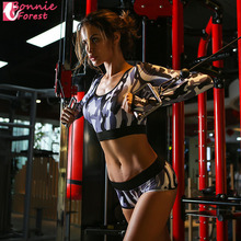 Bonnie Forest Sexy Women Sports Clothing Summer Hot Camouflage printing Long Sleeve +Shorts Pant Yoga Set Fitness Wear Gym 2017