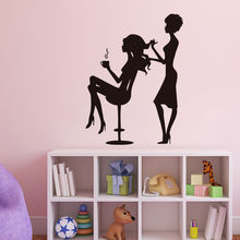 Modern Poster Stickers Woman Hair Stylist Making Girls Hair Beauty Salon Vinyl Wall Decals Home Decor Bedroom Wallpaper ZA315