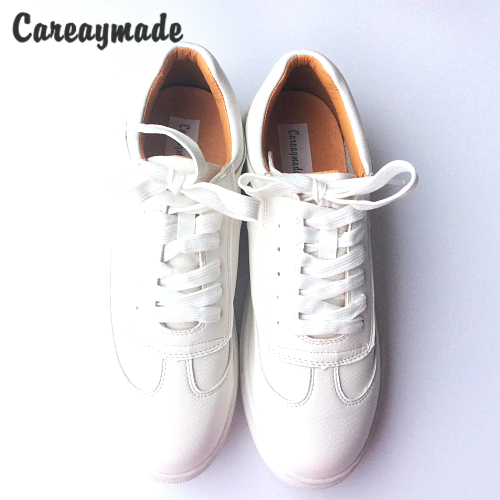 Careaymade-Autumn thick white shoes lace muffin bottom Korean female breathable Genuine leather Casual shoes women tide shoes <br>