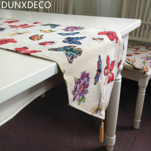 DUNXDECO Country Style Romantic Butterfly Flowers Jacquard Table Runner Table Placemat Home Party Decorative Cover Mat Photo Pro