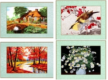 Mixed needle crewel embroidery finished painting / stitch birds tree house Red maple / Wall art pictures Landscape home decor(China)