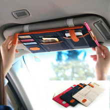 Multi Function Sun Visor Storage Bag Business Card Folder Glasses Stowing Tidying Organizer Car CD Holder Phone Hanging Bag