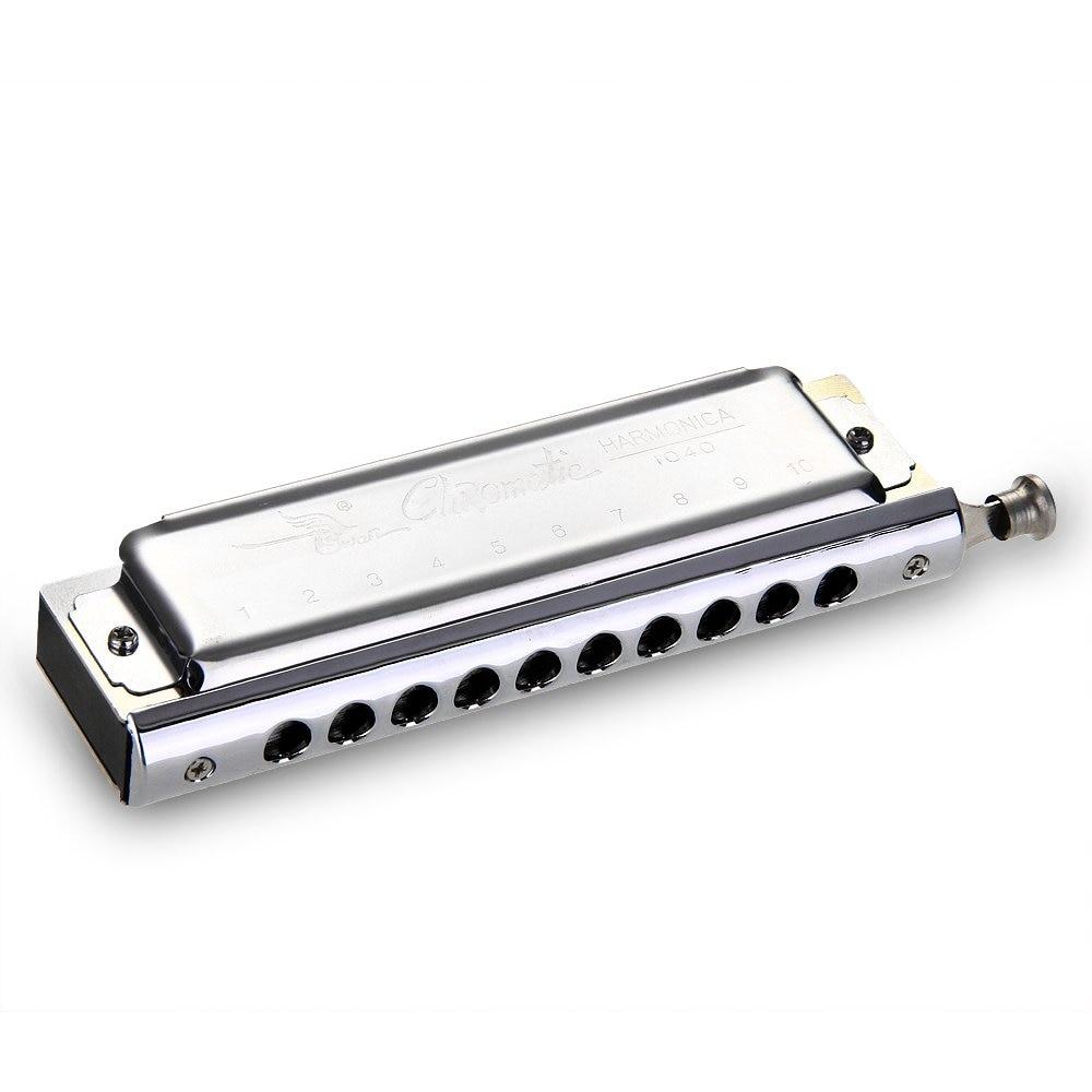 2Pcs Chromatic Harmonica 10 hole 40 tone tone DO C Key Music in Mouth<br>