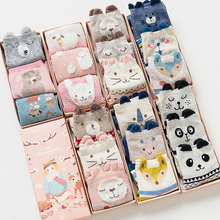 Gift box women autumn winter cute 3d ears cartoon animal cotton socks for woman fashion socks 3pairs/lot(China)