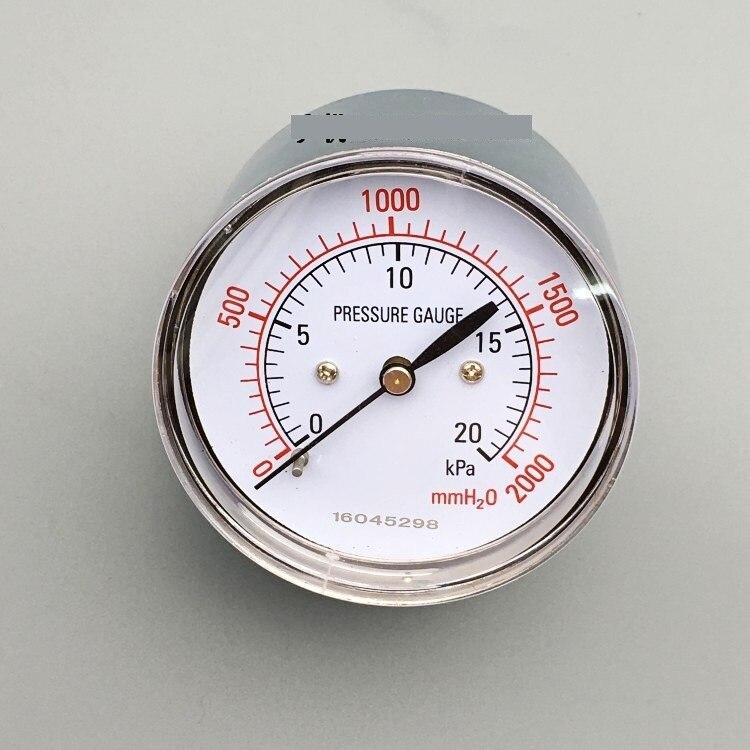 Axial type YE-60Z diaphragm pressure gauge gas pressure gauge water column 0~-20KPA    thread R1/4<br>
