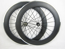 23mm width Alloy braking surface clincher carbon wheels aluminium 80mm bicycle wheelset free painting(China)