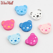 New Bear Wooden Beads 30Pcs Wood Findings For Baby DIY Crafts Kids Toys Teething Necklace Pacifier Clip Spacer Beading Bead(China)