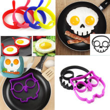 Hot Breakfast Silicone Rabbit Owl Skull Smile Fried Egg Mold Pancake Ring Shaper Cooking Tools Kitchen Gadgets Kid Gift