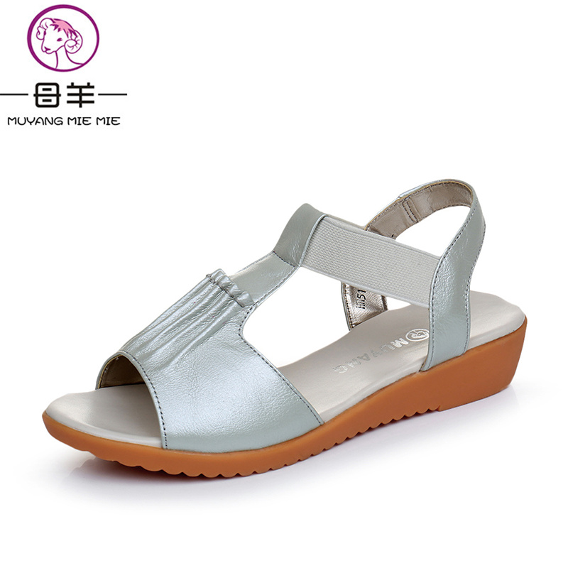 MUYANG MIE MIE Summer Shoes Woman Genuine Leather Flat Sandals Female Open Toe Shoes Soft Comfortable Women Sandals<br>